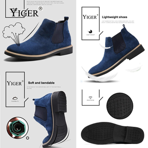 Image 4 - YIGER NEW Men Chelsea Boots Ankle Boots Fashion Mens Male Brand Leather Quality Slip Ons Motorcycle Man Warm Free shipping 0013