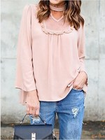 New Fashion Women Pink High Neck Cut Out Ruffle Detail Long Sleeve Casual Loose Blouse