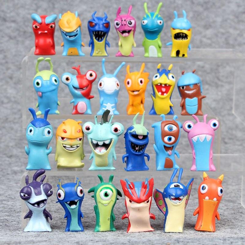 New 24PCS Set 4 5CM Anime Cute Cartoon Fire Slugterra PVC Action Figures font b Toys
