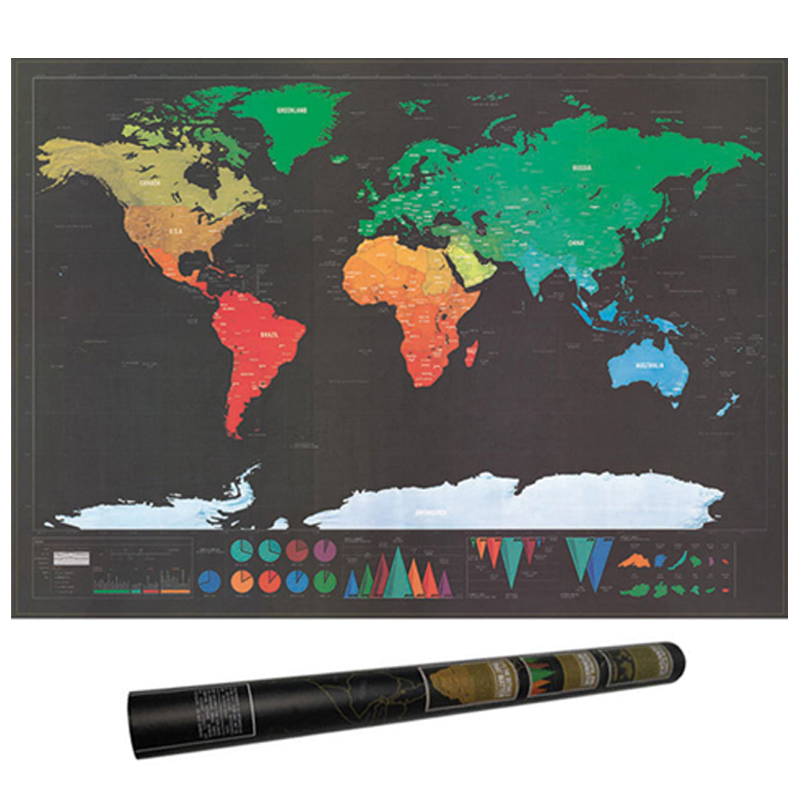 Black Scratch Off Map Deco Deluxe Retro World Map Scratches Vintage Poster Decoracion School Wereldkaart Stationery Supplies
