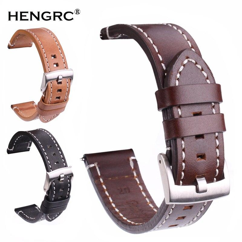Suave correa de banda de reloj de cuero genuino 18 20 22 24mm negro marrón oscuro Vintage correas de plata cinturón hebilla negro
