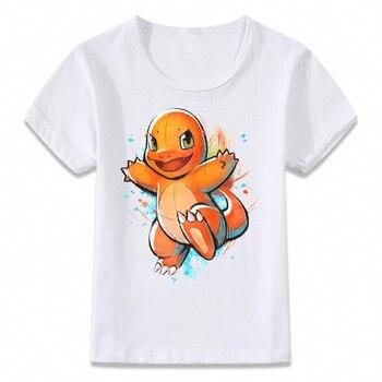 T-shirt pour enfants aquarelle Pokemon Salamèche