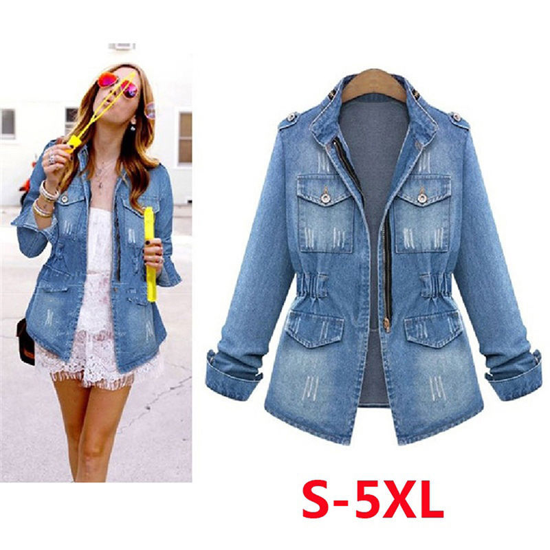 Autumn Women Denim Jacket Large Size Ladies Long Sleeve Zip-Up Zipper Fashion Slim Pocket Female Jeans Jacket Women(China)