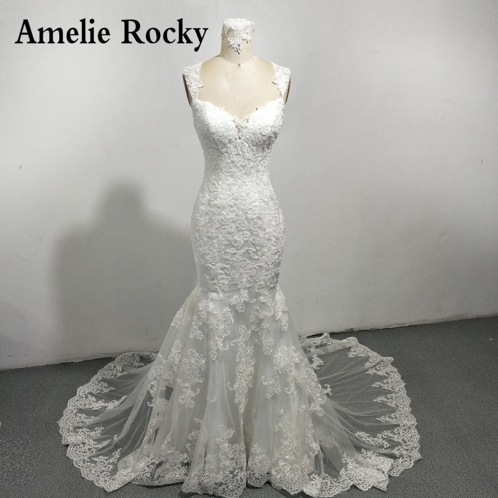 Vestidos De Novia Sexy Backless Lace Wedding Dresses 2019 Vintage Bridal Dresses Sheath Wedding Gown Robe