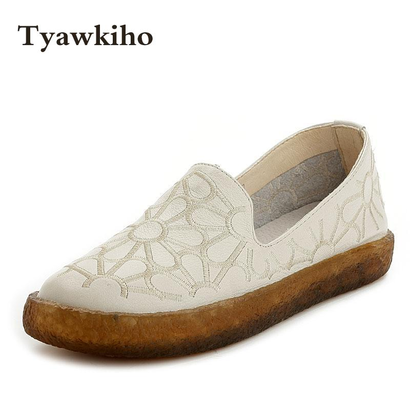 Women Emboridery Ballet Flats White Casual Leather Loafers Black Designer Lady Low Heel Shoes Handmade Women