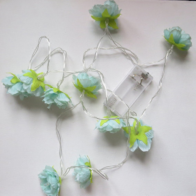 Battery operated LED Blue Cloth Flower Garland Lamp Flowers Light for Christmas/wedding festival lights Home Decoration