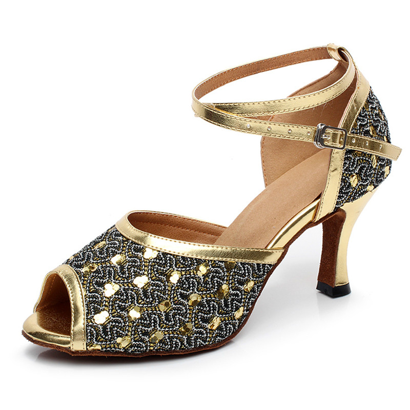 Buy Professional Ladies Women Tango Salsa Ballroom Latin Dance Shoes with Suede Sole 3 3.33 Inch Heels for only 29.49 USD