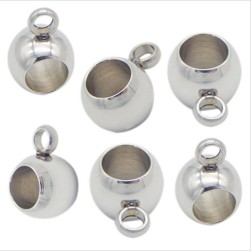 20pcs Stainless Steel Spacer Beads Big Hole Charm Pendant Connectors Bracelet fit 4mm Leather Cord Bracelet DIY Jewelry Findings in Jewelry Findings Components from Jewelry Accessories