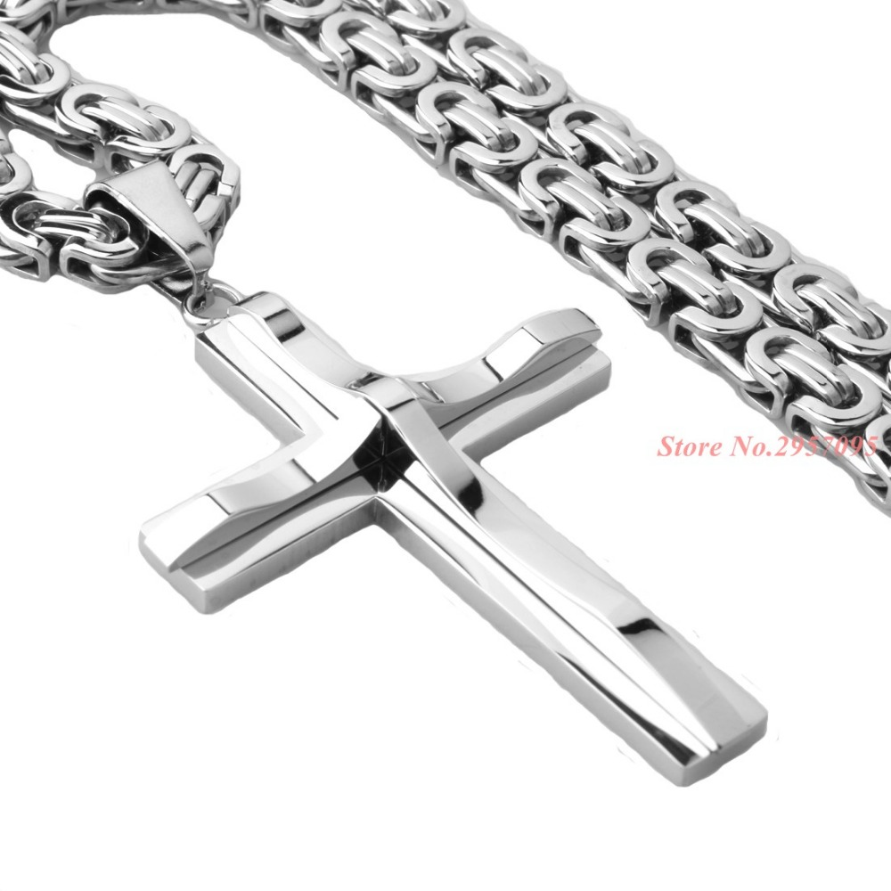 Silver Cross Cut Necklace 316L Stainless Steel Pendant With Chain 16-40 6mm Men Women Necklace Best Gift no 7 stylish 316l stainless steel hand skeleton pendant necklace black silver