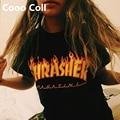 Бесплатная Доставка Летние Мужчины Женщины майка Стиль Гоша Rihanna леопарда скейтборд thrasher Пожарные Черный Белый Топы Cooo Coll