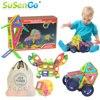 SuSenGo Big Magnetic Designer Kits 34 41 68 89pcs Building Models Toy With Wheel Car Baby