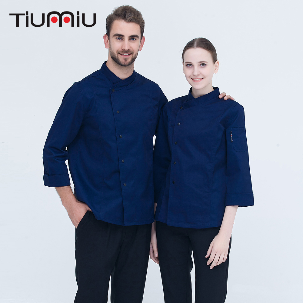 2018 New Arrival High Quality Chef Uniforms Long-sleeved Double Breasted Kitchen Bakery Restaurant Workwear Chef Jacket & Pocket