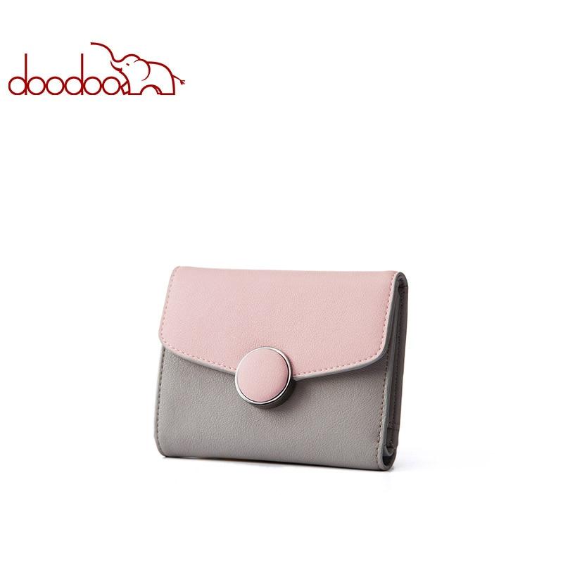 Doodoo Women Leather Wallet Clutch Purse Lady Short Handbag Bag Slim Mini Wallet Women Small Clutch
