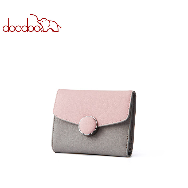 Doodoo Women Leather Wallet Clutch Purse Lady Short Handbag Bag Slim Mini Wallet Women Small Clutch Female New Purse Coin Holder