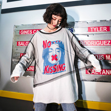 Two-piece Sets Character Letters Women T-shirt Long Sleeve Patchwork Back Long Perspective Mesh+Cotton Tee HipHop Streetwear Top цены