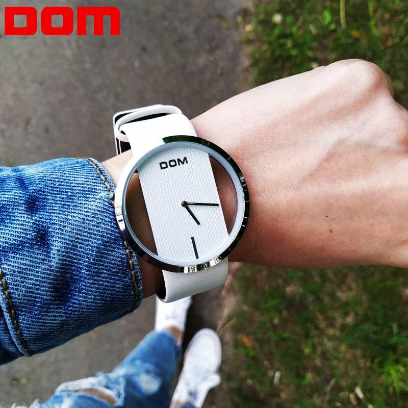 Женские часы DOM кожаные простые кварцевые наручные часы Роскошные модные повседневные стильные часы водонепроницаемые Reloj Feminino LP-205L-7M