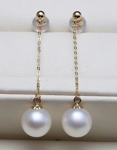 Free shipping  yellow gold AAA 8-9mm round natural south sea white pearl earrings  Free shipping  yellow gold AAA 8-9mm round natural south sea white pearl earrings