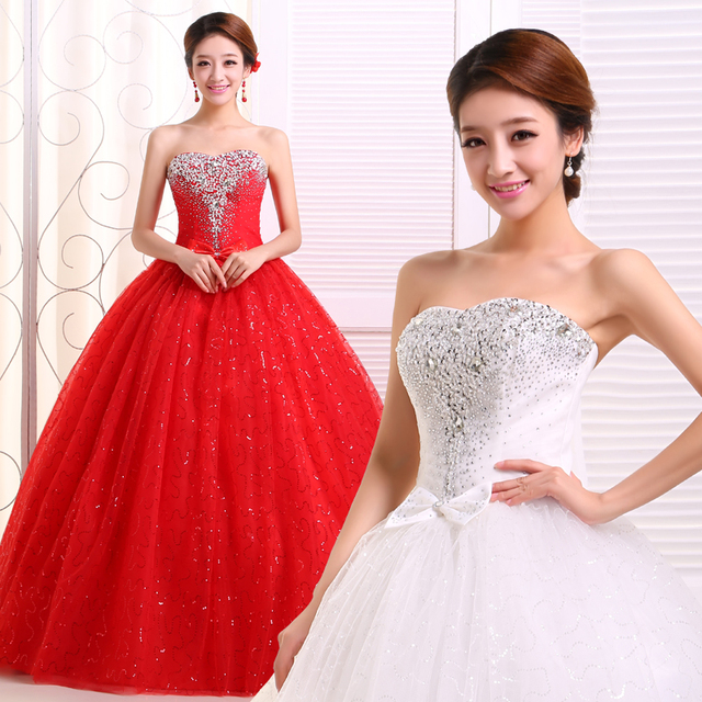 2017 new stock plus size women pregnant bridal gown wedding dress  sweetheart ball gown red white bling diamond sexy backless 233 b8089bffa894