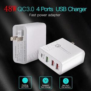 "Image 3 - 48W רב מהיר מטען פ""ד סוג C USB מטען עבור סמסונג iPhone Huawei Tablet QC 3.0 מהיר קיר מטען ארה""ב האיחוד האירופי בבריטניה AU Plug מתאם"