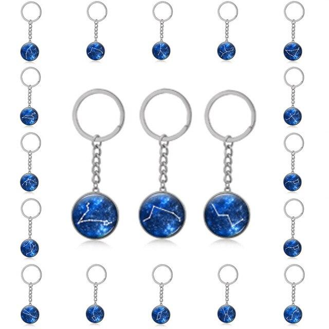 534a34a6f732 19 Tipo de 12 Constelaciones plata llavero cristal convexa colgantes  Vintage bronce arte llavero para el