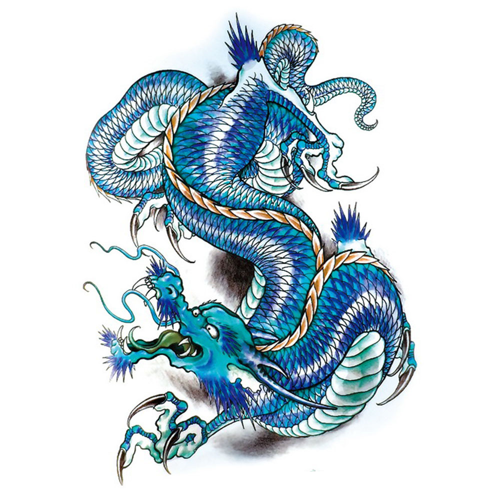 Yeeech Temporary Tattoos Sticker for Men Large Fake Blue Dragon Designs Cool Arm Leg Body Art Waterproof Long Lasting Real Look