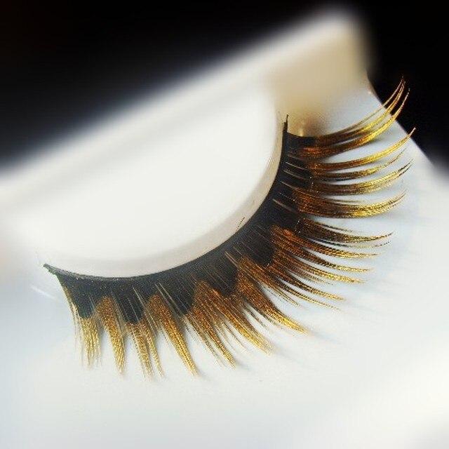 1 Pairpack Metalic Gold Glitter False Eyelashes1818035 Free