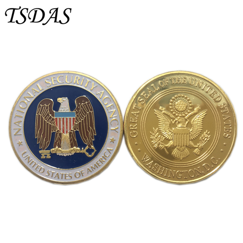 Us 36 Us Central Intelligence Agency Coin 403 Mm Colorful Pure Gold Plated Coin Cia Challenge Coin As Souvenir Gift In Non Currency Coins From