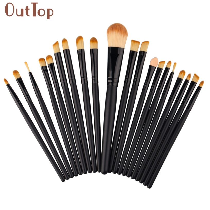 Best Deal OutTop Good Qulaity Black Wood Handle 20 pcs Women Soft Makeup Brush Set Cosmetic Toiletry Kit Make Up Brush Set Gift hot msq new product single foundation black synthetic makeup brush big wood handle cosmetic make up kit free shipping