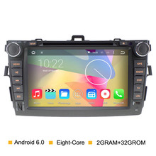 Android 6.0 Eight core 2G RAM Car dvd player for Toyota Corolla 2007 2008 2009 2010 2011 with 1024*600 Capacitive Touch Screen