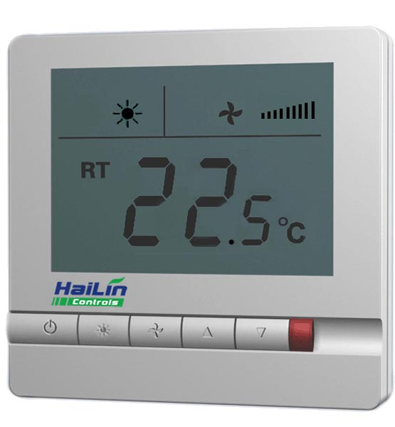 Free Shipping Hailin central air conditioning thermostat LCD digital display blue backlight HL108DB2 for 2 pipe fan coil unit