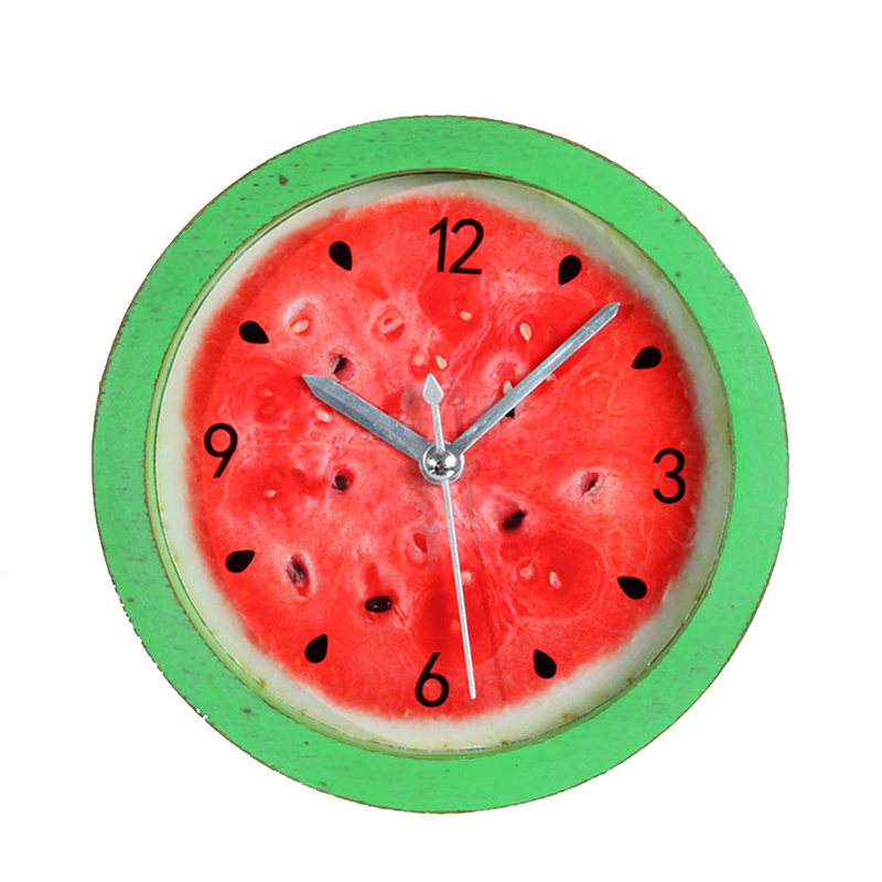 Watermelon Alarm Clock Creative 3D Wooden Table Stand Clock Needle Mute Alarm Clock Home Office Decor Round Students Clock