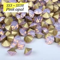 Rose opale SS3-SS38 Pointback Strass Cristal strass Utiliser pour la Décoration bijoux et vêtements accessoires Livraison gratuite