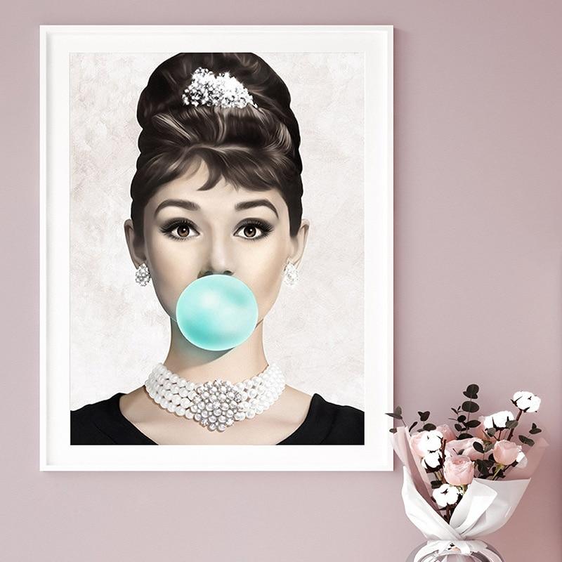 Audrey Hepburn Bubble Gum Wall Art Print Living Room Decor