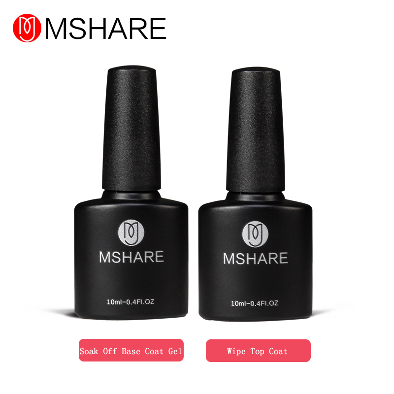 MSHARE 10ML 2st Primer Gelpolish Top Base Coat Gel Lack Top det av + Suga av Base Coat Foundation för UV Gel Nail Polish