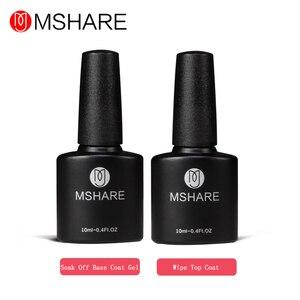 MSHARE 10ML 2pcs Primer Gelpolish Top Base Coat Gel Varnish Top it off + Soak off Base Coat Foundation for UV Gel Nail Polish
