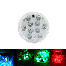 10leds RGB LED Underwater Light Pool Diving IP67 Waterproof Pool Lamp Battery For Wedding Party Operation(China)