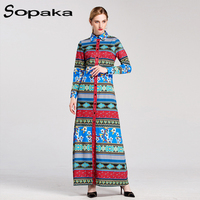 2017 Autumn Full Sleeve Turn Down Collar Blue And Red Patchwork Floral Printed Empire Boho Long