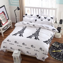 Black White Pairs Eiffel Tower Printed Bedclothes 3/4Pcs Duvet Cover Bed Sheet Pillowcase Bedding Set Bedspread Bed Linens