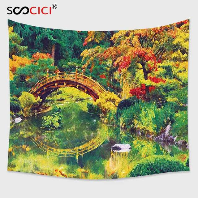 Wonderful Cutom Tapestry Wall Hanging,Country Decor Fairy Image Of A Japanese Garden  With An Old
