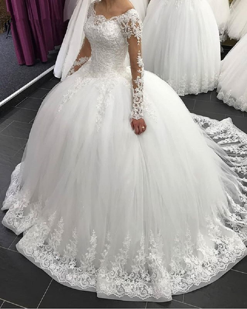 2019 Elegant Long Sleeve Wedding Dresses Lace Ball Gown Tulle Princess Lebanon Wedding Gowns Plus Size