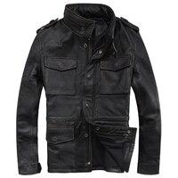 HARLEY Jack Wills Винтаж черные длинные Для мужчин M65 кожаная куртка воротник стойка из натуральной плотной коровьей российские военные кожаные па