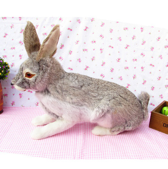 lovely simulation rabbit toy lovely gray rabbit doll gift about 44 x15x35cm