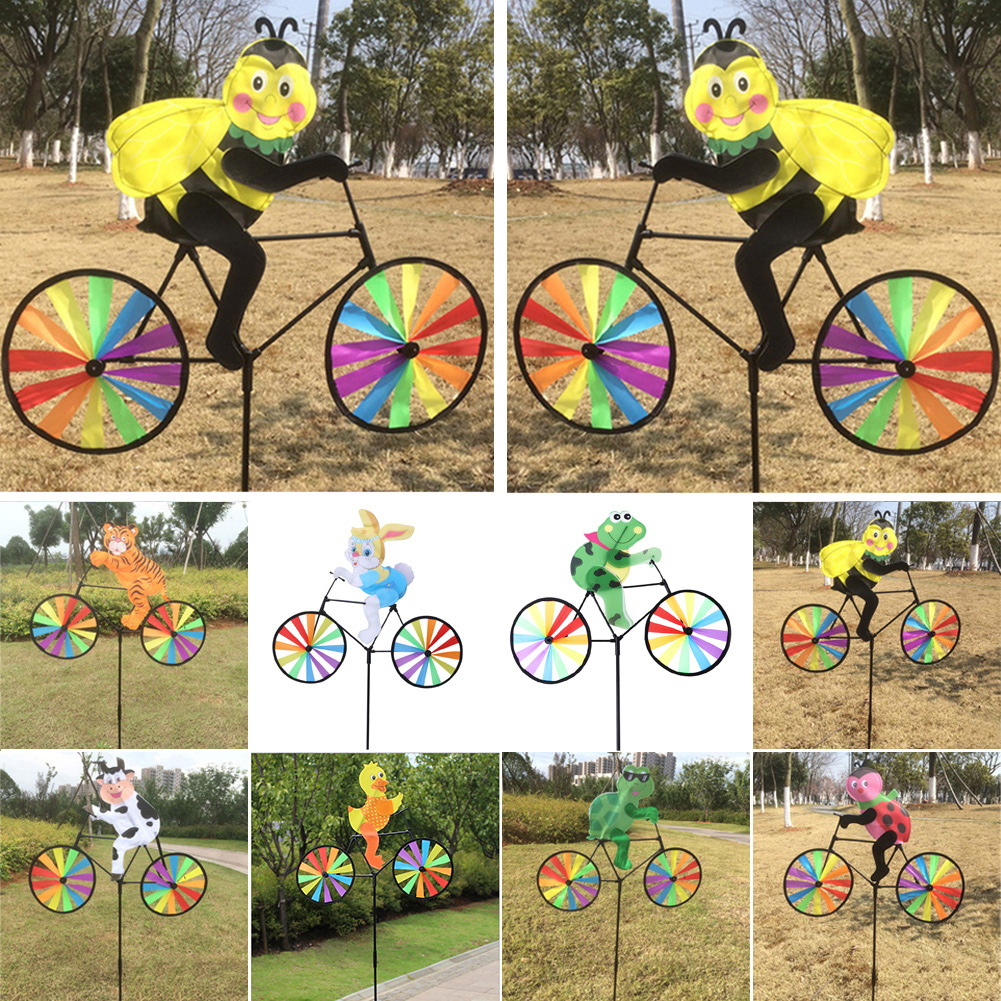 Hot Selling Cute 3D Animal on Bike Windmill Wind Spinner Whirligig Garden Lawn Yard Decor AUG25