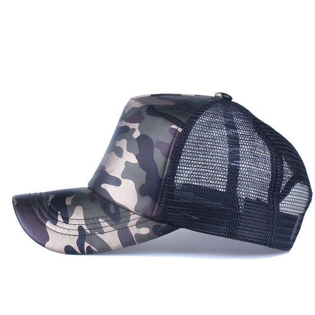 Summer Baseball Cap Mesh Faux Leather Camouflage Cap