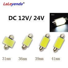 LaLeyenda 1x Festoon Light 31mm 36mm 39mm 41mm/42mm Car COB Bulb C5W C10W LED Dome reading Map Light Auto Interior 24V12V White(China)