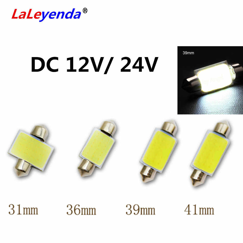 LaLeyenda 1x Festoon Light 31mm 36mm 39mm 41mm/42mm Car COB Bulb C5W C10W LED Dome reading Map Light Auto Interior 24V12V White