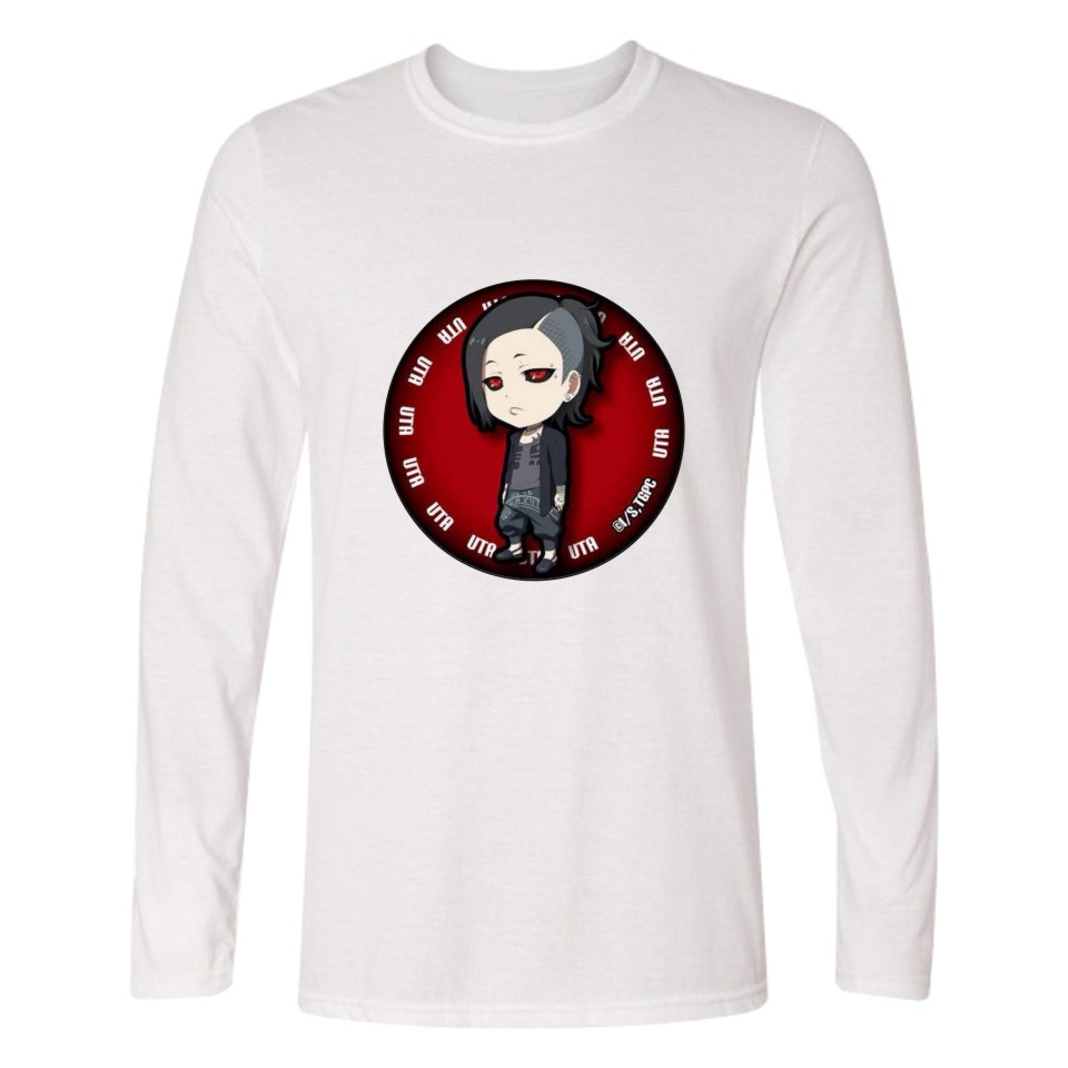 Ken Kaneki in Anime Tokyo Ghoul Long Sleeve T Shirt Men Slim Fit T-shirts with Cartoon Men TShirt Funny Print in Tee Shirt Long