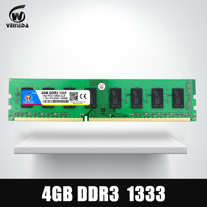 VEINEDA Dimm Ram DDR3 4 GB 1333 MHz ddr 3 PC3-10600 Compatible 1066, 1600 memoria 240pin para AMD Intel Desktop