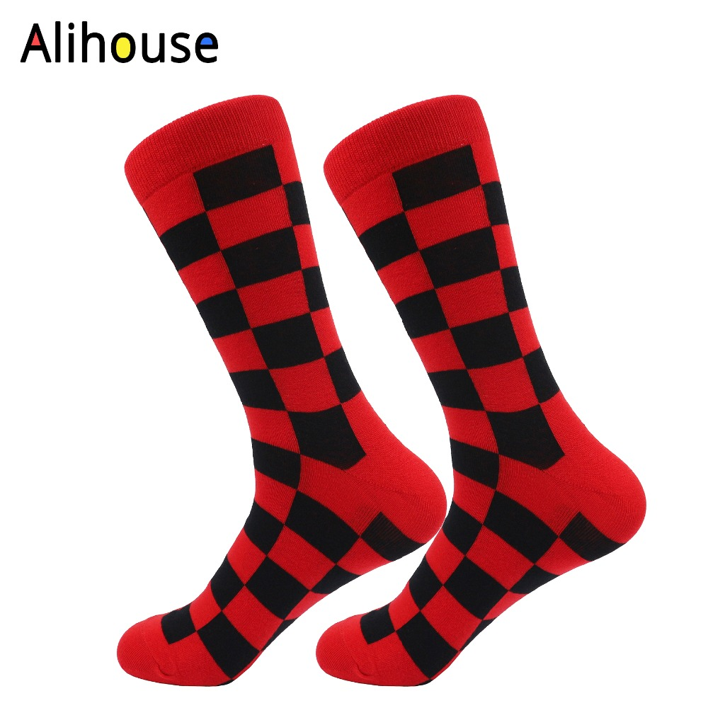 Alihouse Mens Colorful Combed Cotton Socks Funny Classic Square Grid Pattern Dress Casual Crew Socks