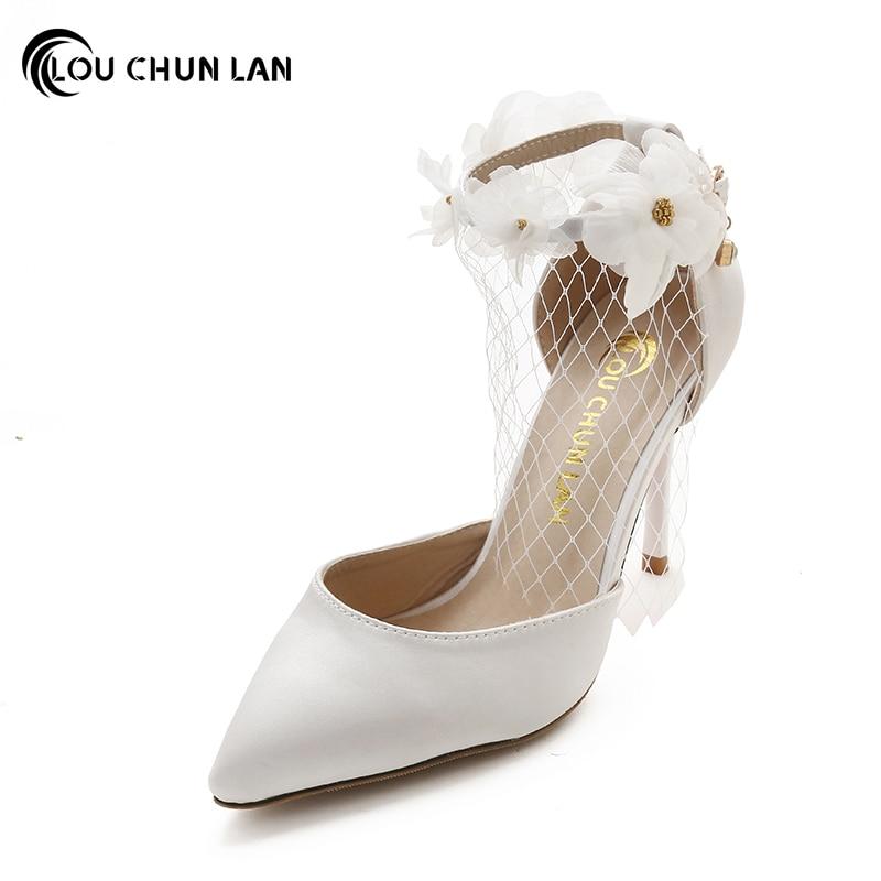 vestido de las mujeres bombea mary janes zapatos de boda apliques elegantes tacones delgados partido de